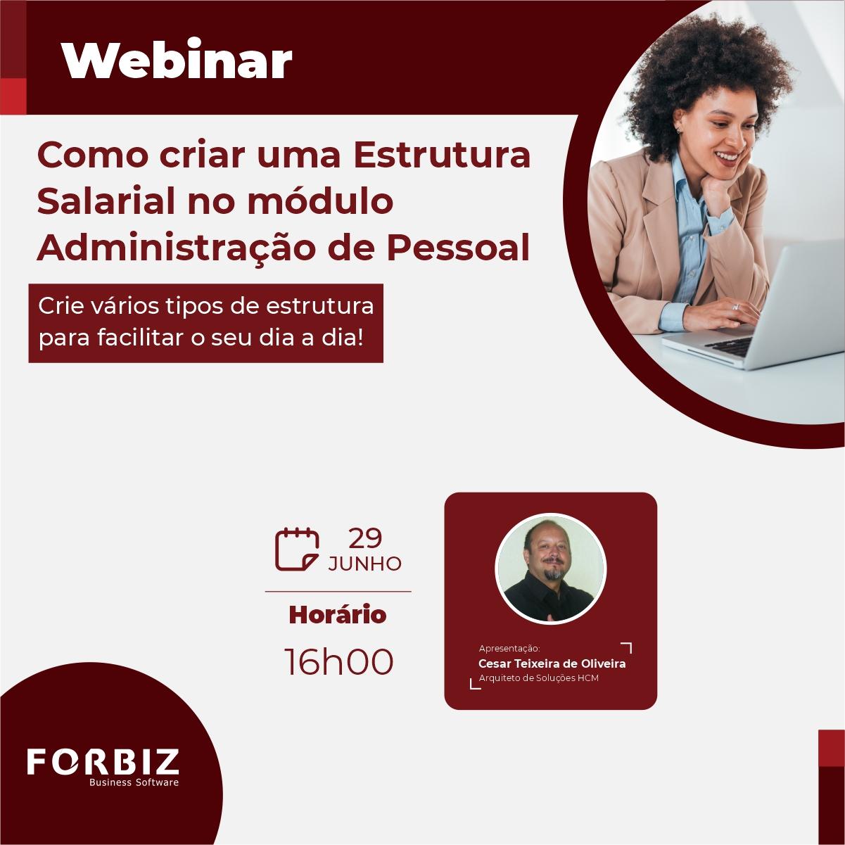 Webinar Como criar uma Estrutura Salarial no módulo Administração de Pessoal